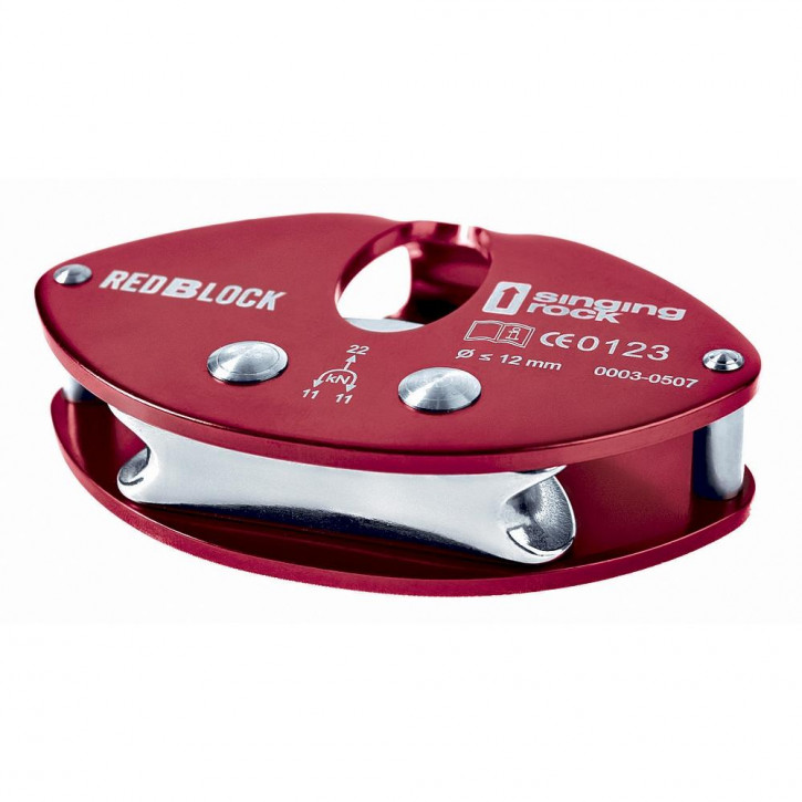 Stainless steel hanger device REDBLOCK color red by Singing Rock