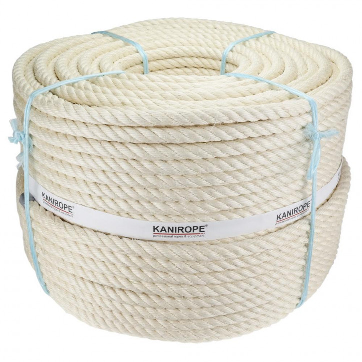 Sisal rope AGAVE ø30mm 4-strand twisted by Kanirope®