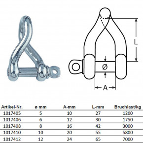 "D Shackle ""Twisted Form"" Stainless Steel"