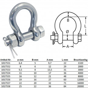 Round Shackle with Anchor Lock Stainless Steel